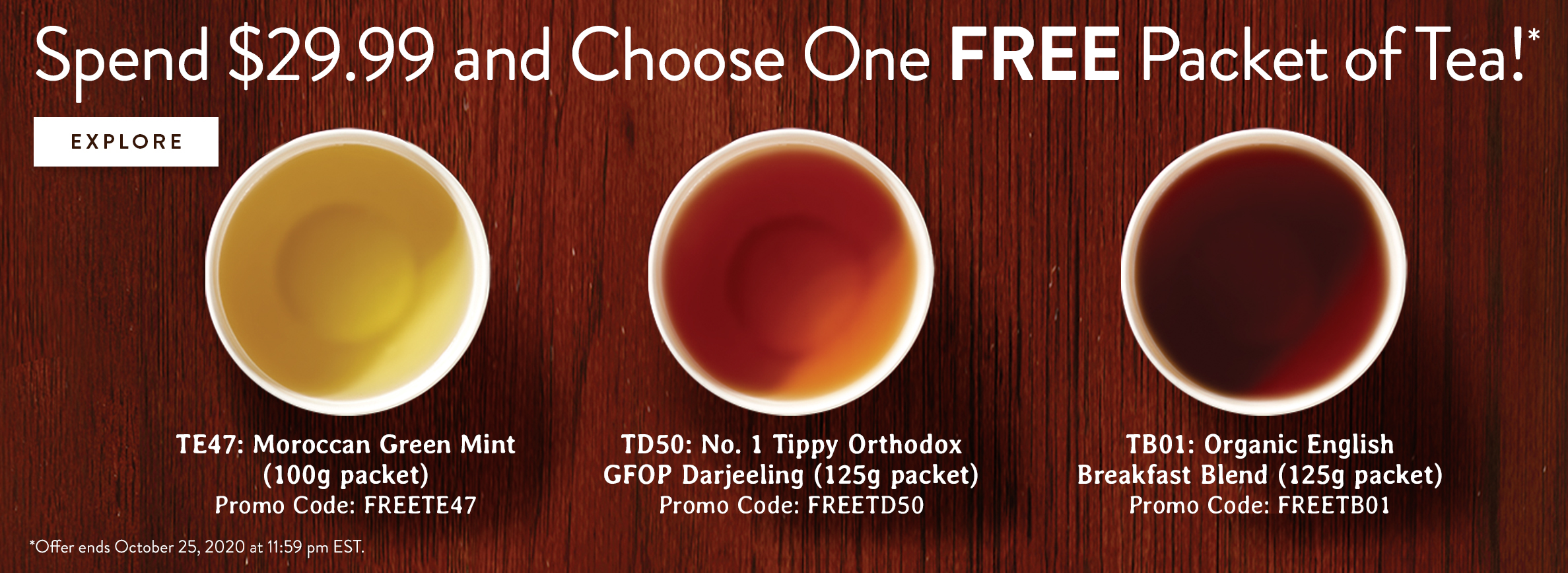 Free Tea with $29.99 Purchase